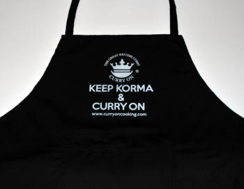 Black apron with Curry On Cooking logo plus Keep Korma and Curry On Cooking
