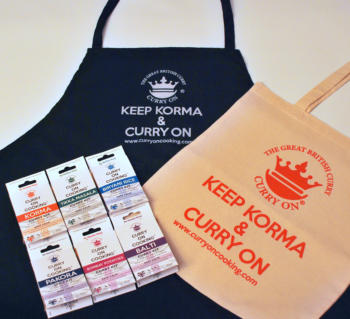 3 items in the imageCurry On Cooking Apron with 6 curry kits and a cotton curry on cooking shopper